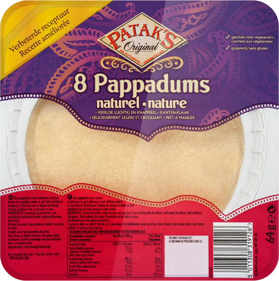 Pappadums Naturel - Ready to eat